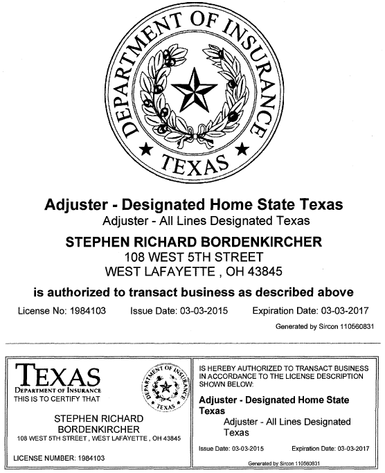 SB Adjustor License